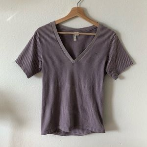 RVCA Short Sleeve V-Neck Tee, Purple, Size M